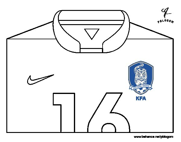 south korea world cup 2014 t shirt coloring page
