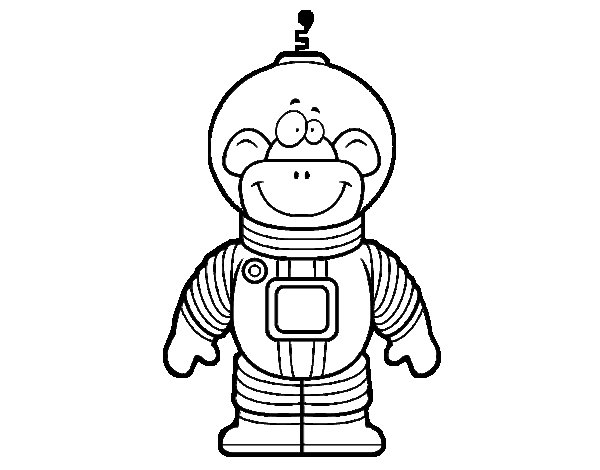 Space Monkey coloring page