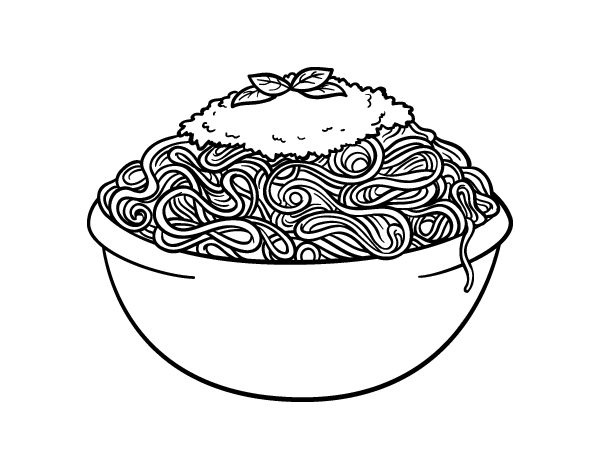Spaghetti coloring page for Italian food coloring pages