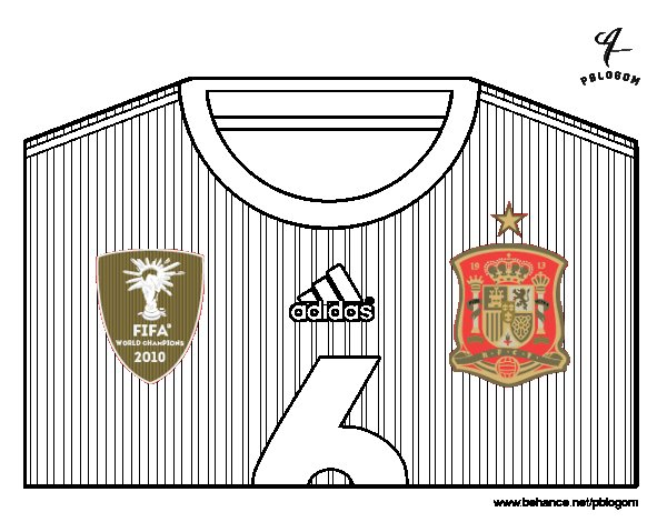 Spain World Cup 2014 t-shirt coloring page