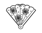 Spanish hand fan coloring page
