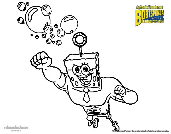SpongeBob - The Invincibubble to the attack coloring page