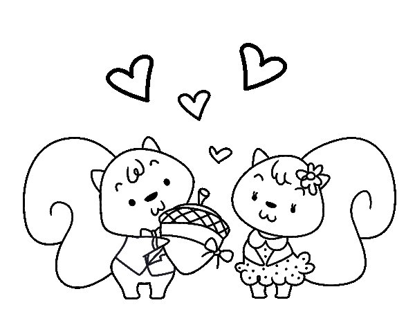 Squirrels in love coloring page