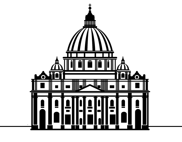 St Peter S Basilica From Vatican City Coloring Page Coloringcrew Com