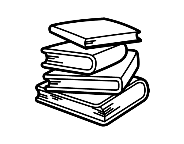 stack of books coloring page coloringcrewcom - Book Coloring Pages
