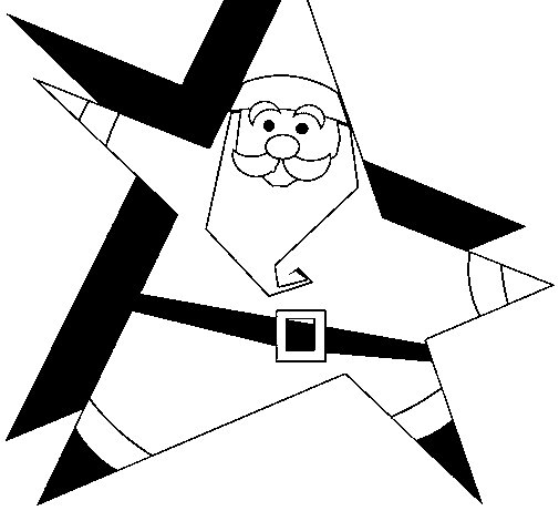 Star shaped Father Christmas coloring page