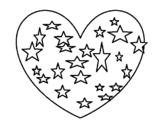 Starry heart coloring page