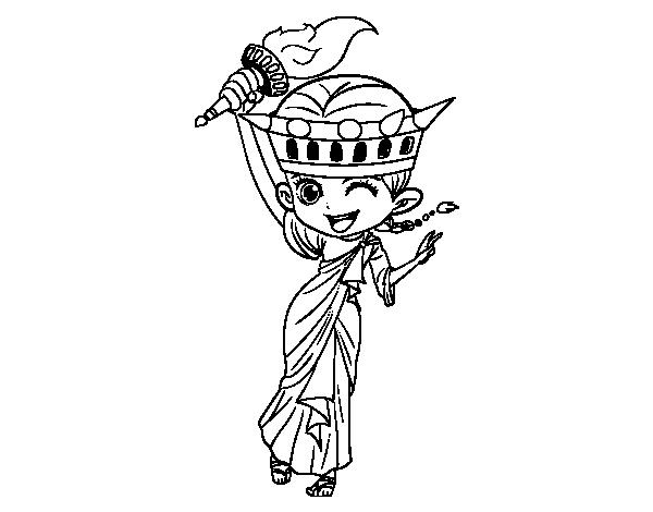 Statue Of Liberty Manga Coloring Page