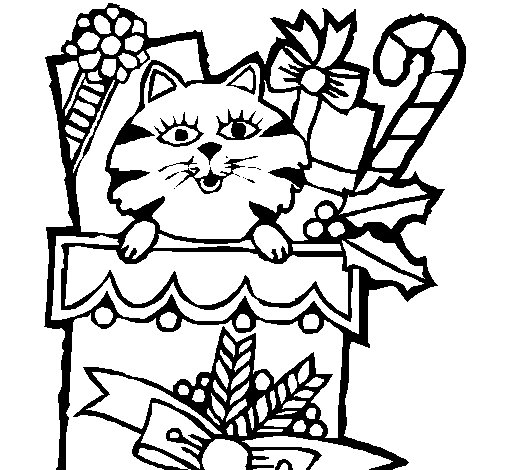Stocking full of presents coloring page