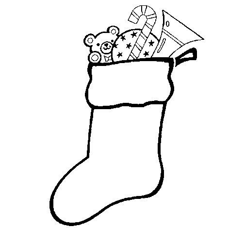 Stocking with presents coloring page