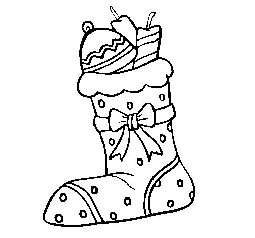 Stocking with presents II coloring page