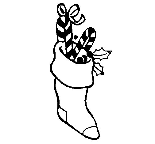 Stocking with sweets coloring page