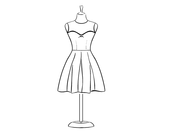 Strapless Dress Coloring Page