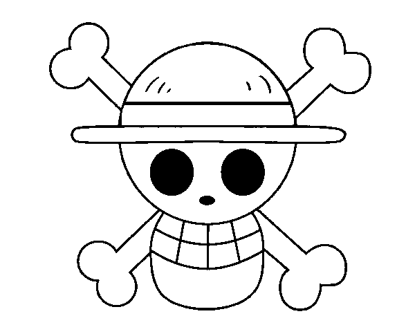 Black Straw Hat Straw Hat Flag Coloring Page