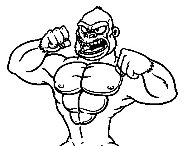 Strong gorilla coloring page