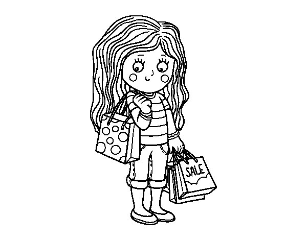 Summer girl with shopping coloring page