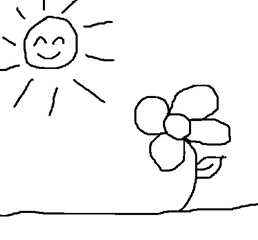 Sun and flower 2 coloring page
