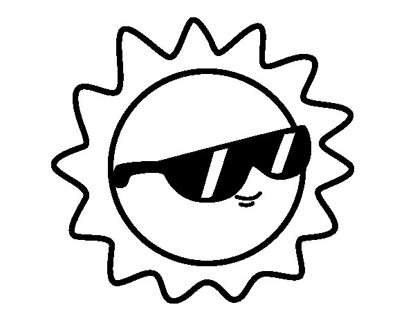 Sun with glasses coloring page