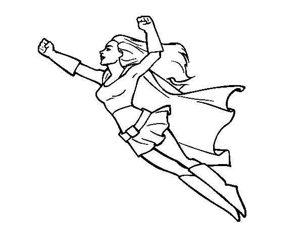 Super girl flying coloring page
