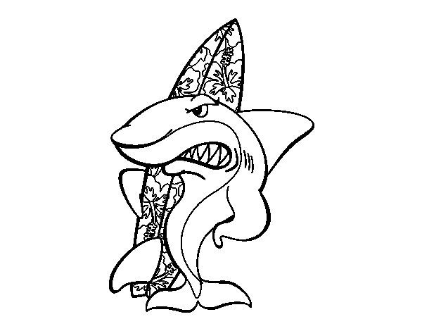 Surfer shark coloring page