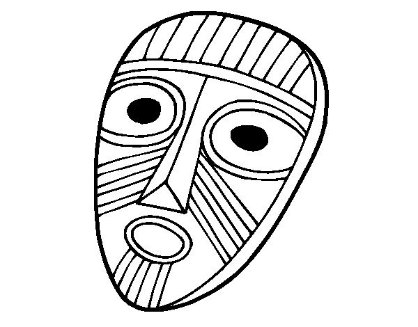 Surprised mask coloring page