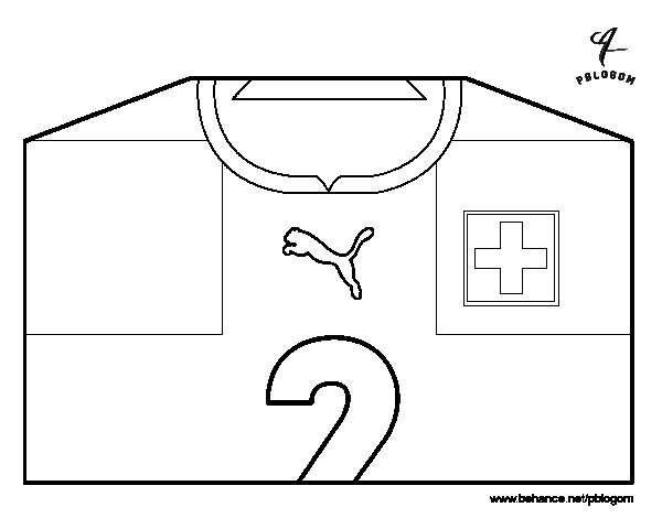 Switzerland World Cup 2014 t-shirt coloring page