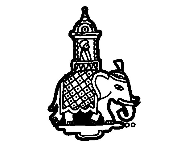 Taxi-elephant coloring page