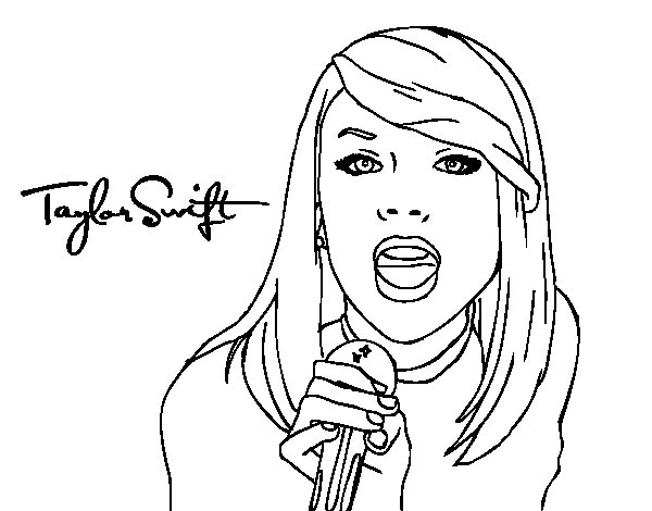 Taylor Swift singing coloring page  Coloringcrewcom