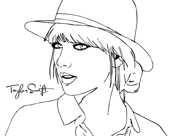 taylor-swift-with-hat 2 pngTaylor Swift Coloring Pages