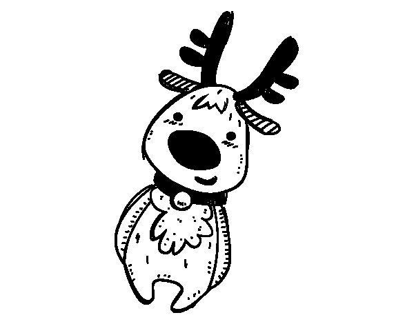 Teddy Christmas Reindeer coloring page