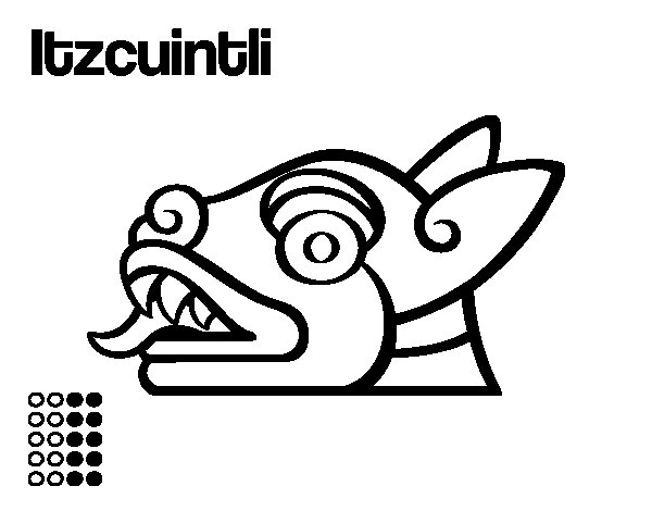 The Aztecs days: the Dog Itzcuintli coloring page