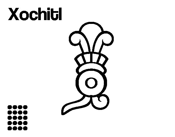 The Aztecs days: the Flower Xochitl coloring page