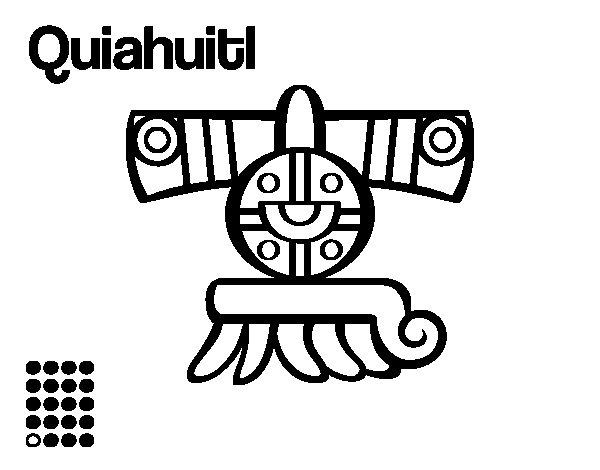 The Aztecs days: the Rain Quiahuitl coloring page