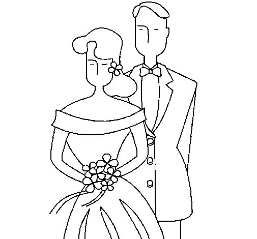 The bride and groom II coloring page