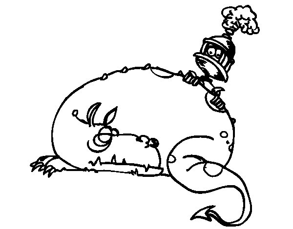 The Dragon and Saint George coloring page