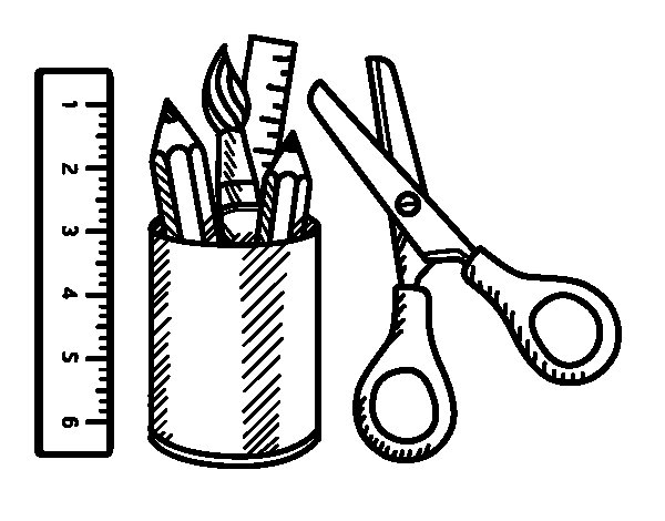 The School equipment coloring page