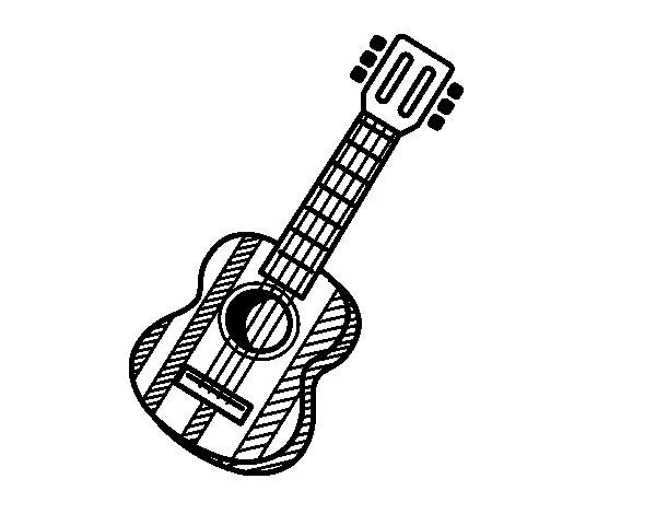 The spanish guitar coloring page