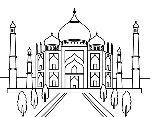 taj mahal coloring page - the taj mahal coloring page