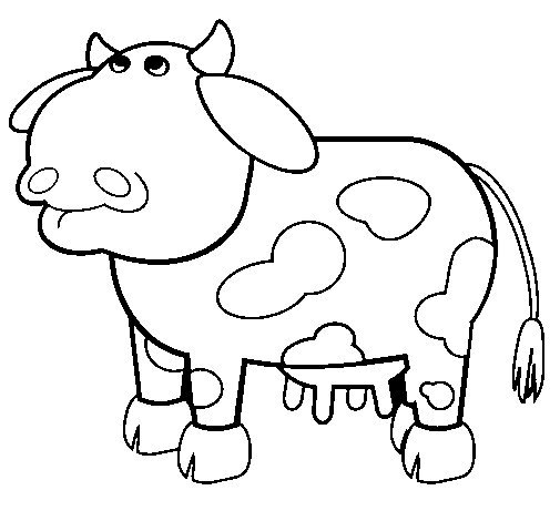 Thoughtful cow coloring page