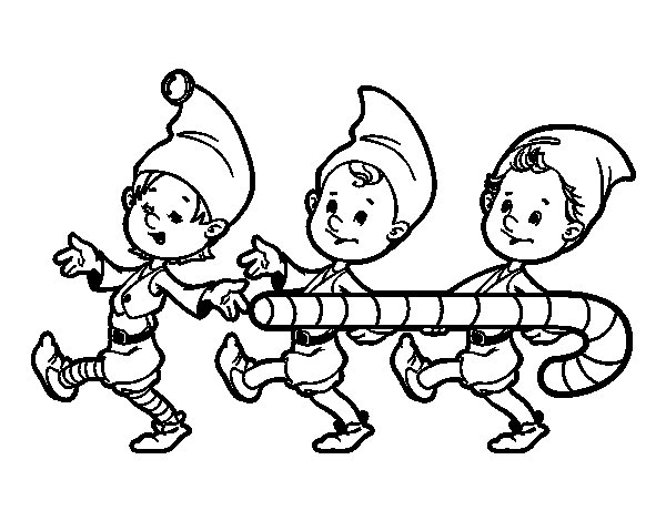 Three christmas elves coloring page for Christmas elf coloring pages