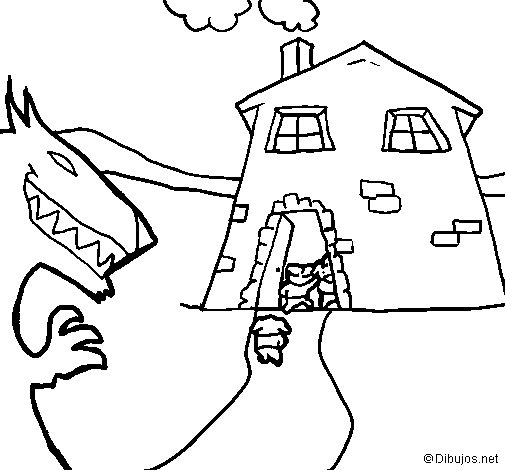 Three little pigs 10 coloring page