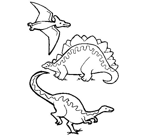 Three types of dinosaurs coloring page