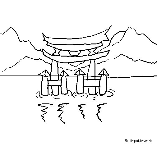 Torii coloring page