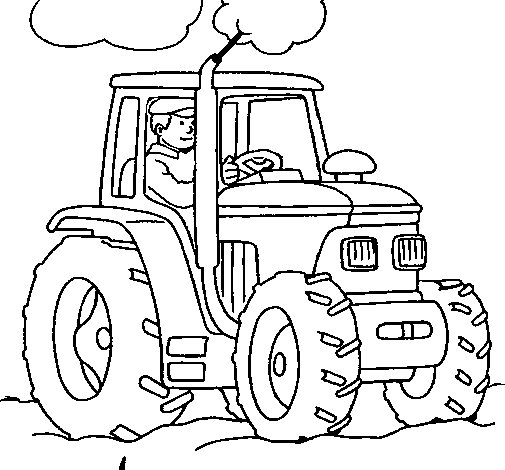 Tractor working coloring page