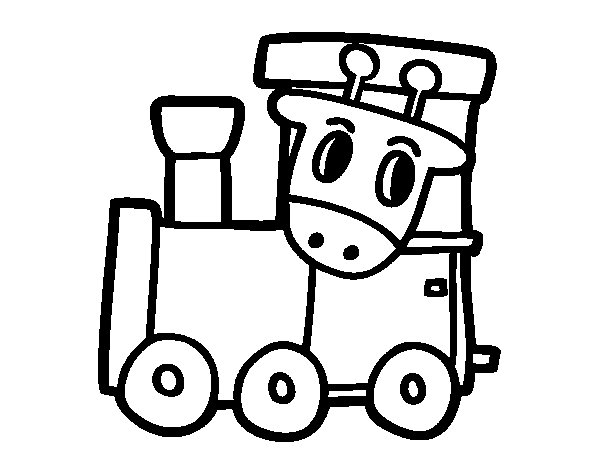 Train with giraffe coloring page
