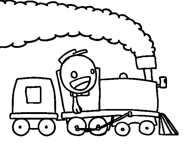 Train with machinist coloring page