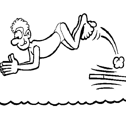 Trampoline jump coloring page