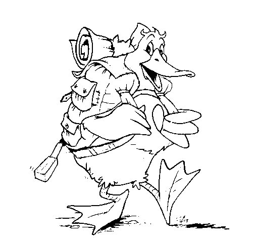 Travelling duck coloring page