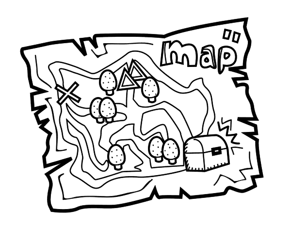 Treasure map coloring page Coloringcrewcom