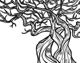 Tree ghostly coloring page